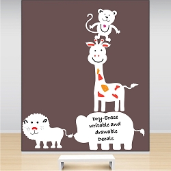 Zoo Animal Dry Erase Wall Decals