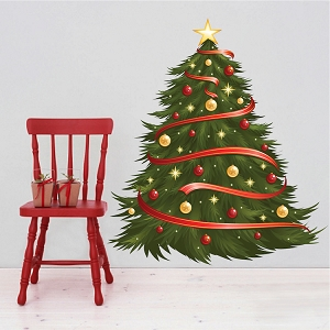 Decorated Christmas Tree Wall Decal