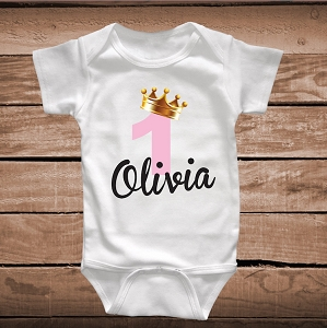 Custom Princess Birthday Onesie, Bib or Tee