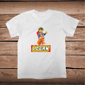 Lego Movie Emmet Custom T-Shirt With Name