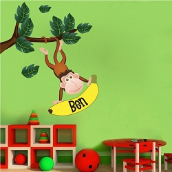Monkey Name Wall Mural Decal