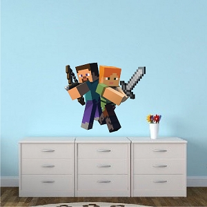 Minecraft Steve and Alex Bedroom Wall Stickers