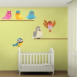 Birds on a Wire Wall Mural Decal