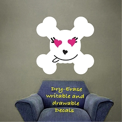 Skull and Crossbones Dry Erase Wall Decal