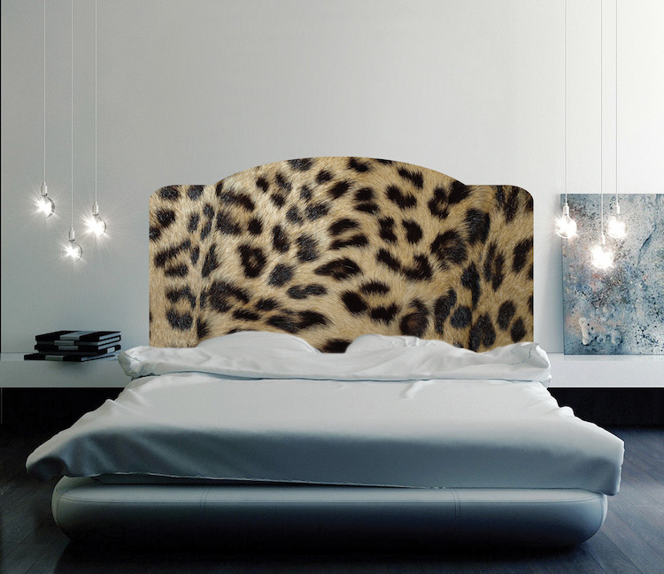 Leopard print headboard mural decal headboard wall decal for Mural headboard