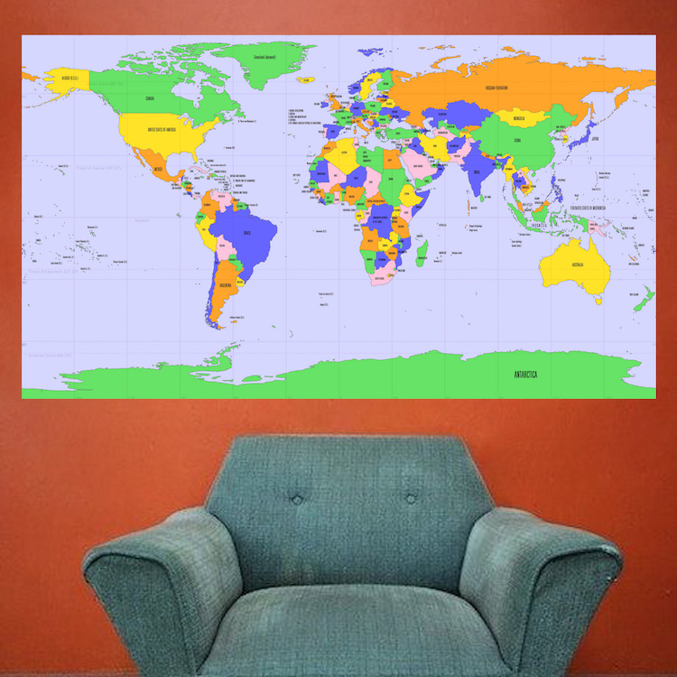 World map mural decal globe wall decal murals primedecals quick view gumiabroncs Image collections