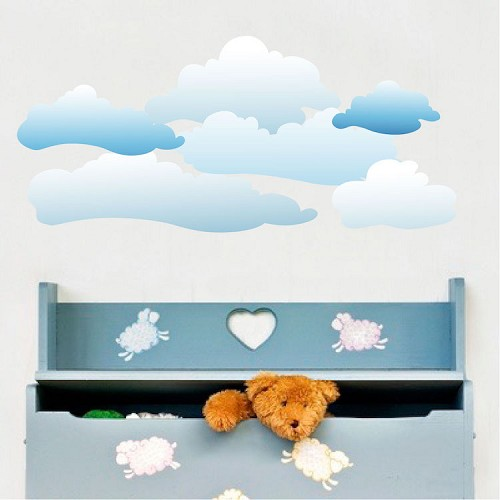 Clouds wall decal sky murals primedecals for Clouds wall mural