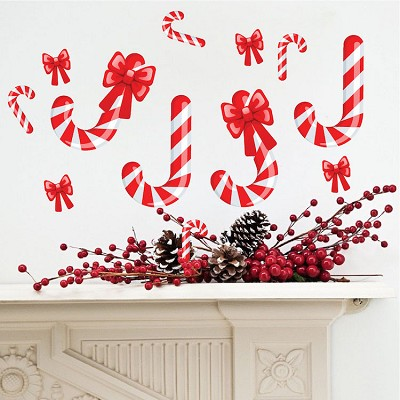 Candy cane wall decals christmas murals primedecals for Candy wall mural