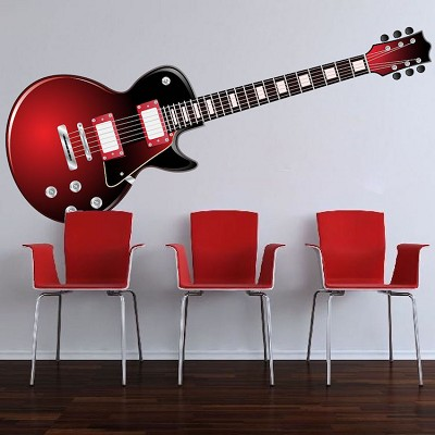Red Electric Guitar Wall Mural Decal
