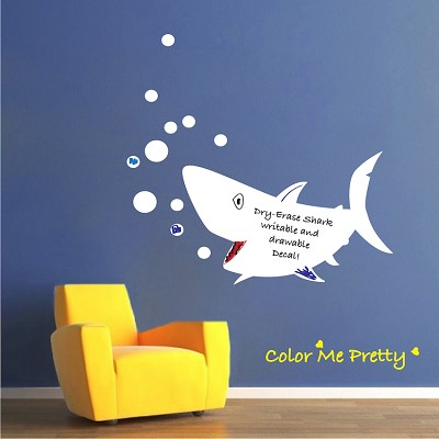 writable shark wall decal dry erase wall decal murals primedecals. Black Bedroom Furniture Sets. Home Design Ideas