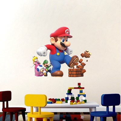 Super mario bro bedroom wall decal nintendo game room decor mario wall stickers mario - Mario wall clings ...
