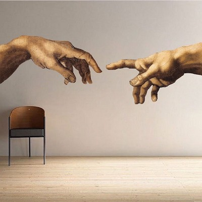 Michelangelo Hands Decal Mural