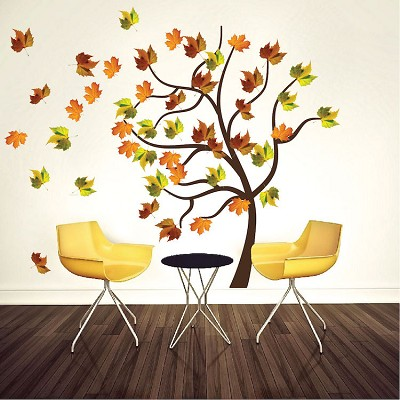 Autumn tree wall decal mural fall tree decals primedecals for Autumn tree mural