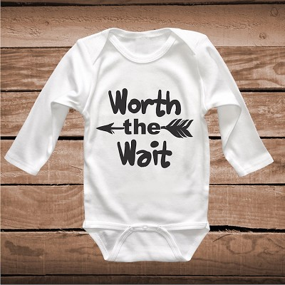 Worth The Wait Cute Baby Crawler Clever Sayings Onesies
