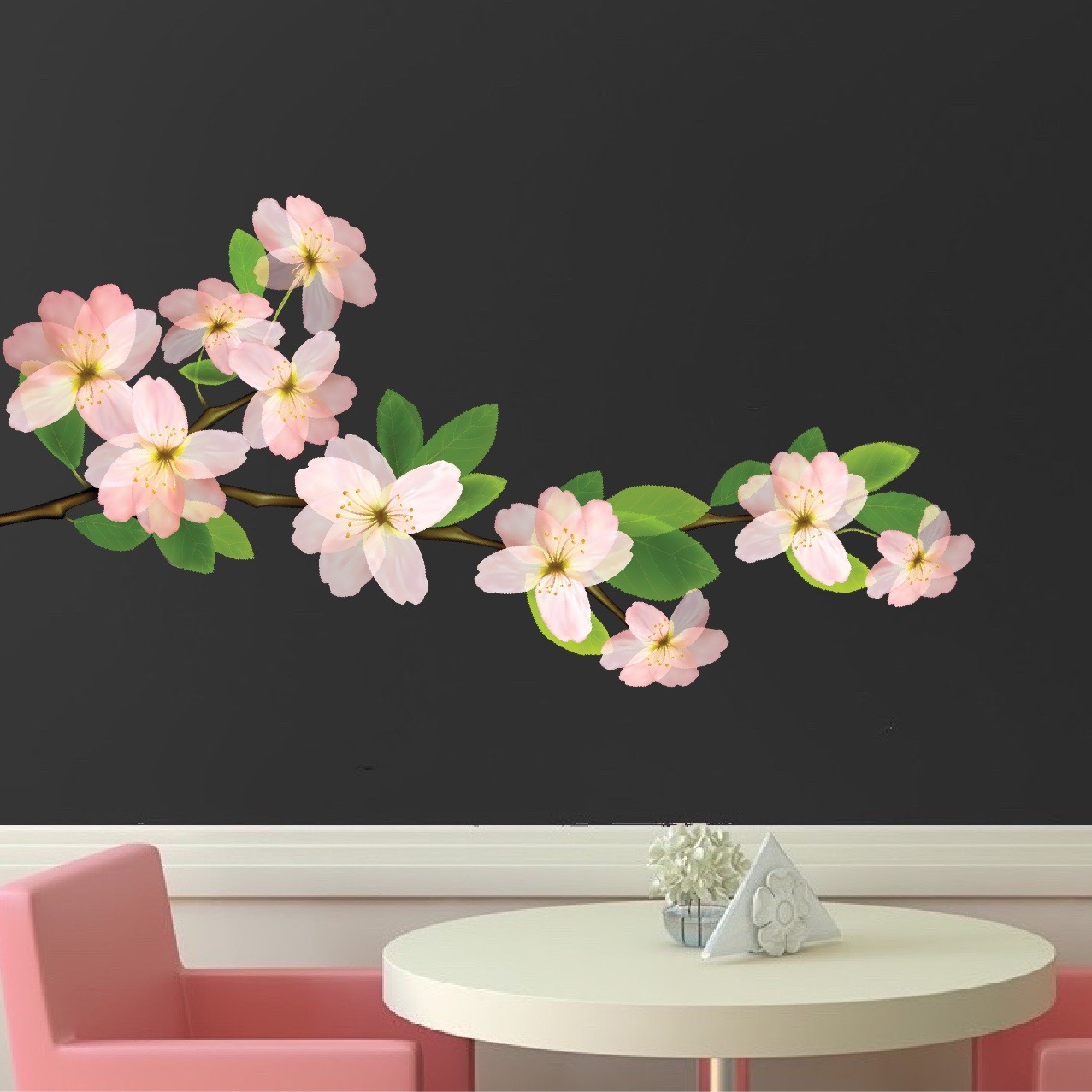 Beautiful Flower Branch Wall Decal Bedroom Cherry