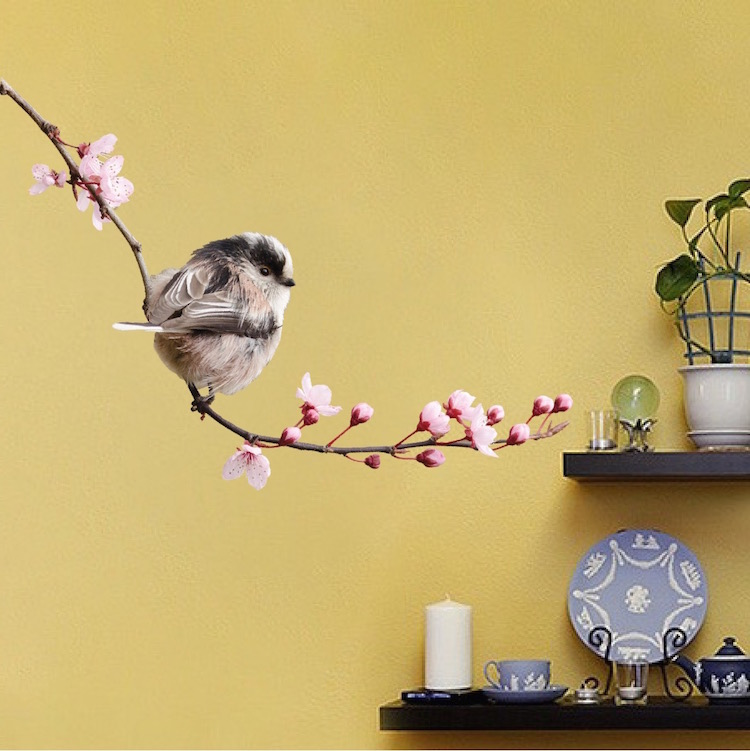 cute bird on a branch decal mural - floral branch with bird sitting