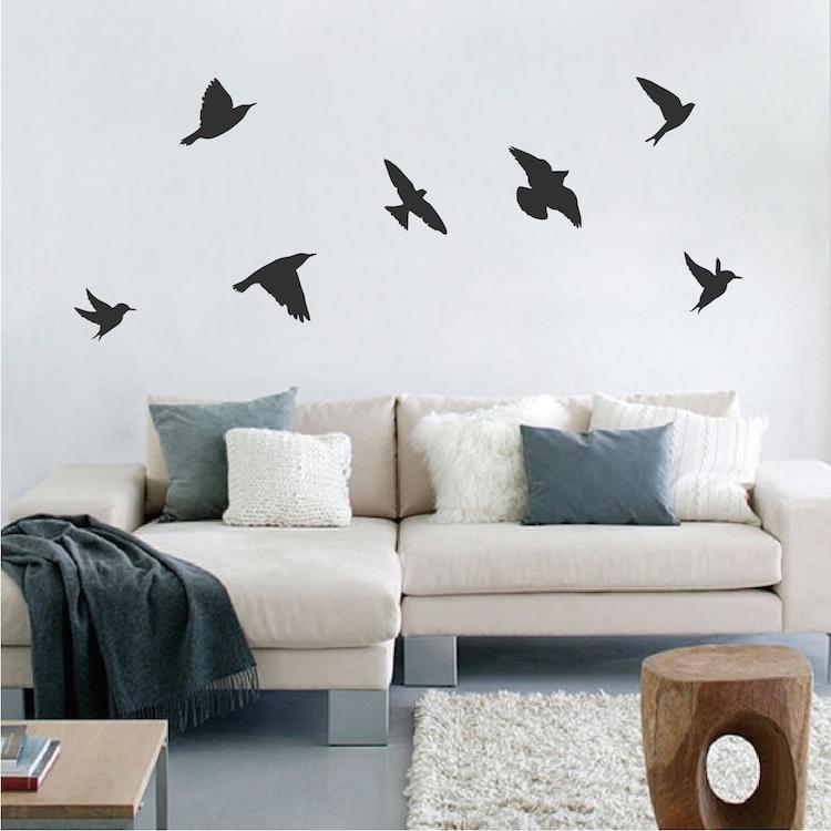 birds wallpaper decal sticker - black bird decals - bird wall