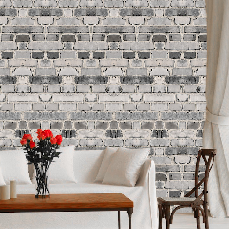 Grey Brick Wallpaper Self Adhesive Decal