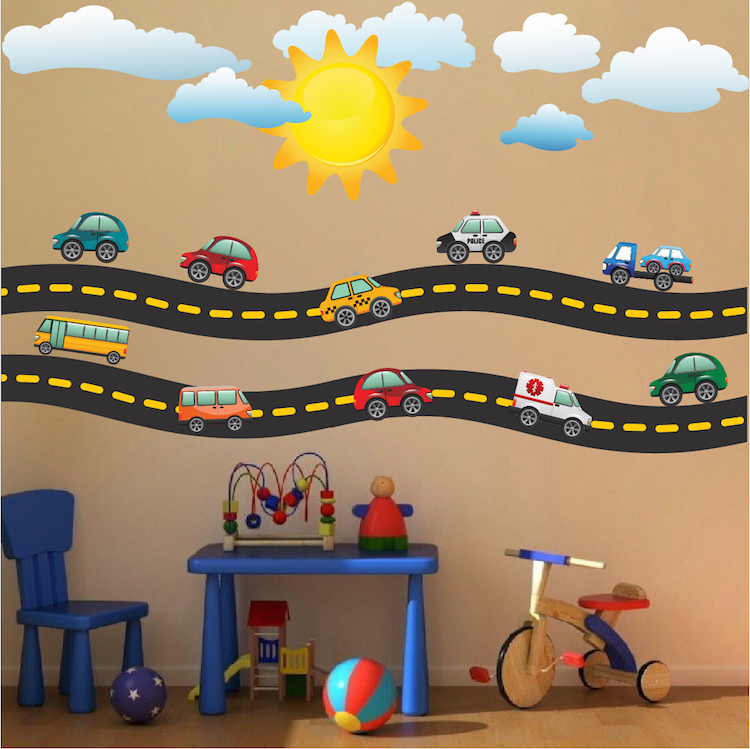 race car decal - sports wall decal murals - race track wall stickers