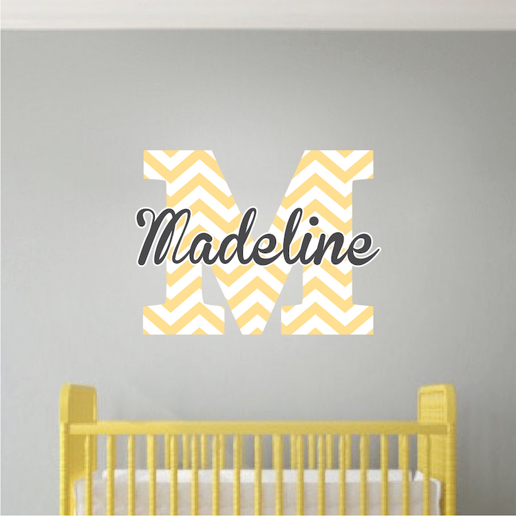 Monogram Wall Decal Initial Stickers Nursery And Kids Custom