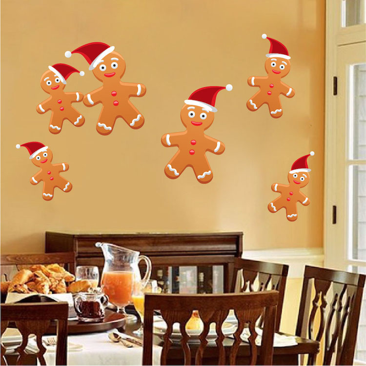 Gingerbread Wall Decals - Gingerbread Man Holiday Decoration ...