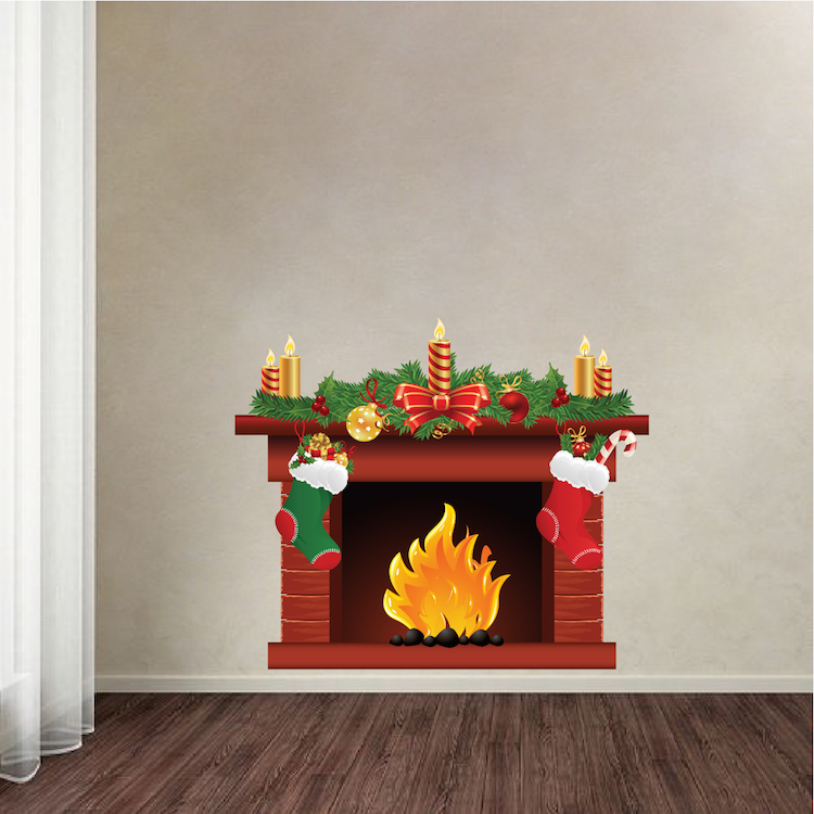 Christmas Fireplace Wall Decal Mural - Living Room Wall Decal Murals ...