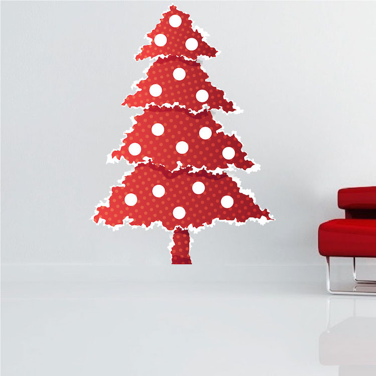 Red Christmas Tree Wall Decal - Christmas Murals