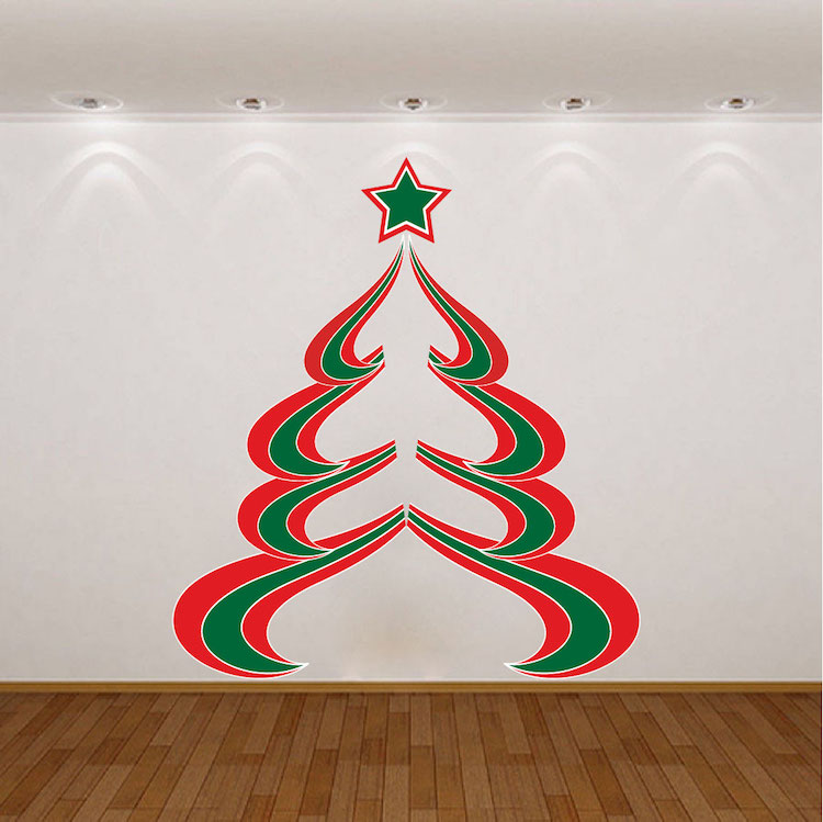 Abstract Christmas Tree Wall Decal - Christmas Murals ...