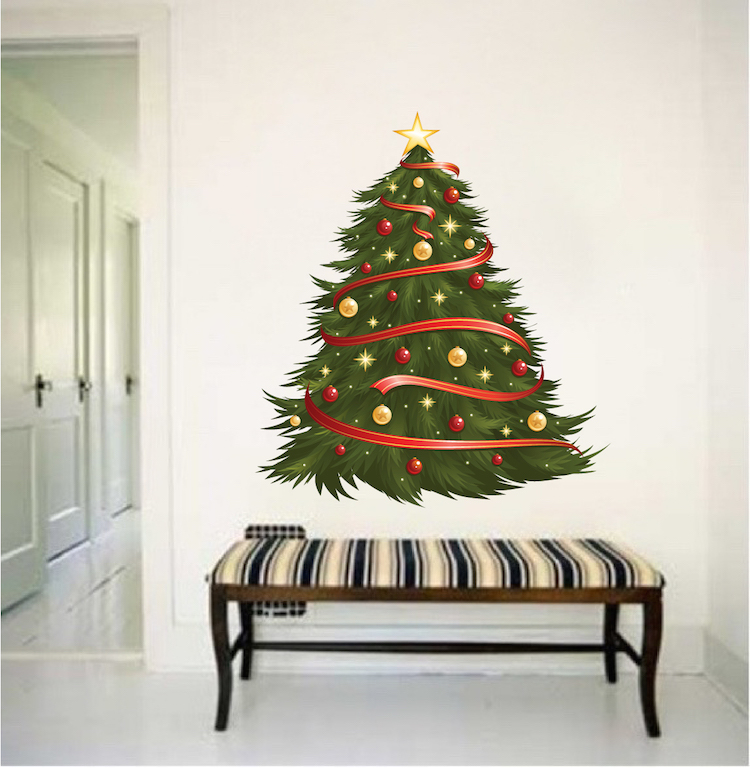 Decorated Christmas Tree Wall Decal Holiday Wall and Windoe Decals