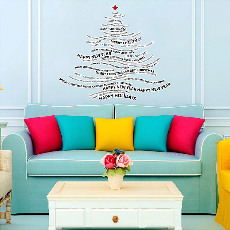 Christmas Tree Text Wall Decal Holiday Wall and Windoe Decals