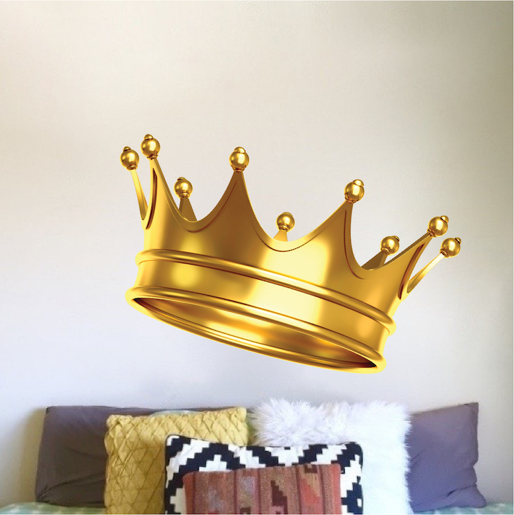 Gold Crown Wall Mural Decal Boys Room Wallpaper King