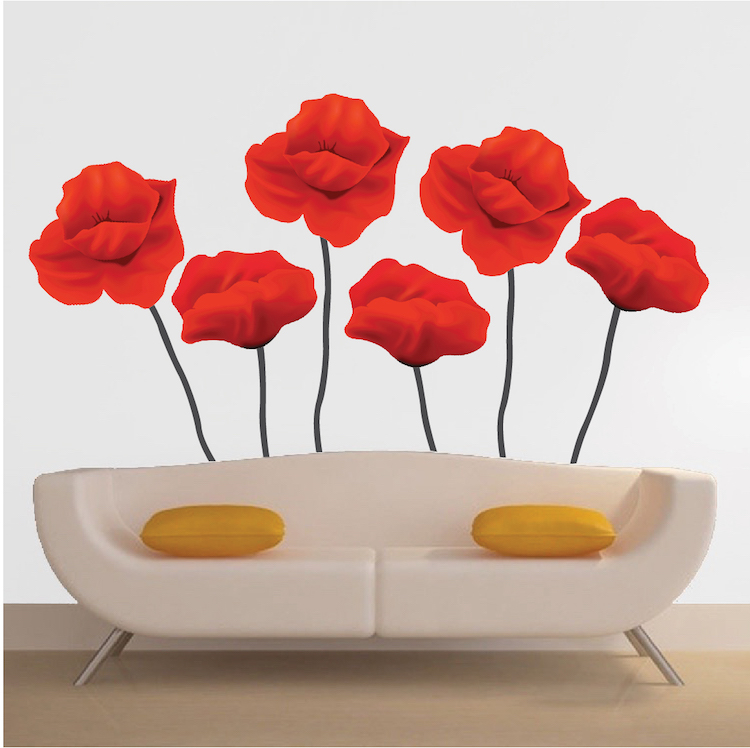 Red Flower Mural Decal Floral Wall Decal Murals Primedecals