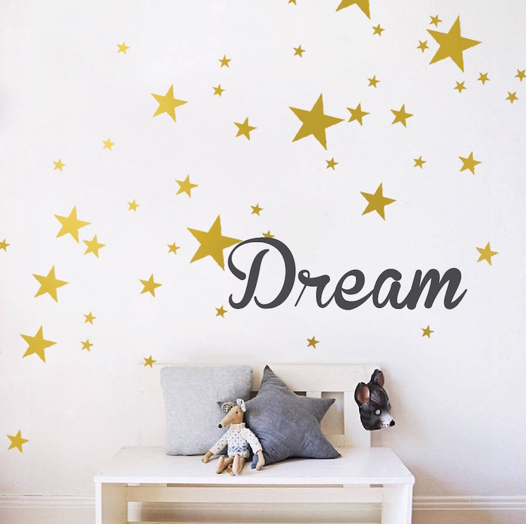 custom text or name with bedroom stars wall decals _ nursery star