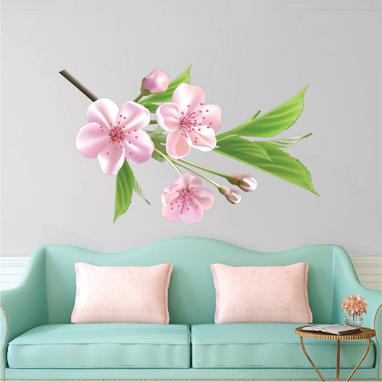interior floral wall decal mural - beautiful black flower branch