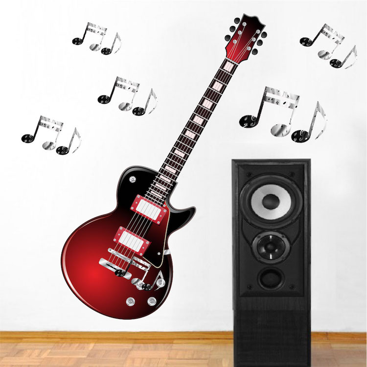 Red Electric Guitar Wall Mural Decal Music Wall Decal Murals