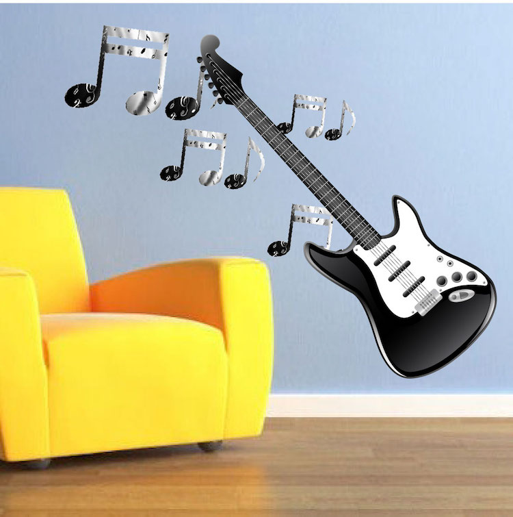 Electric Guitar Wall Mural Decal Music Wall Decal Murals Primedecals
