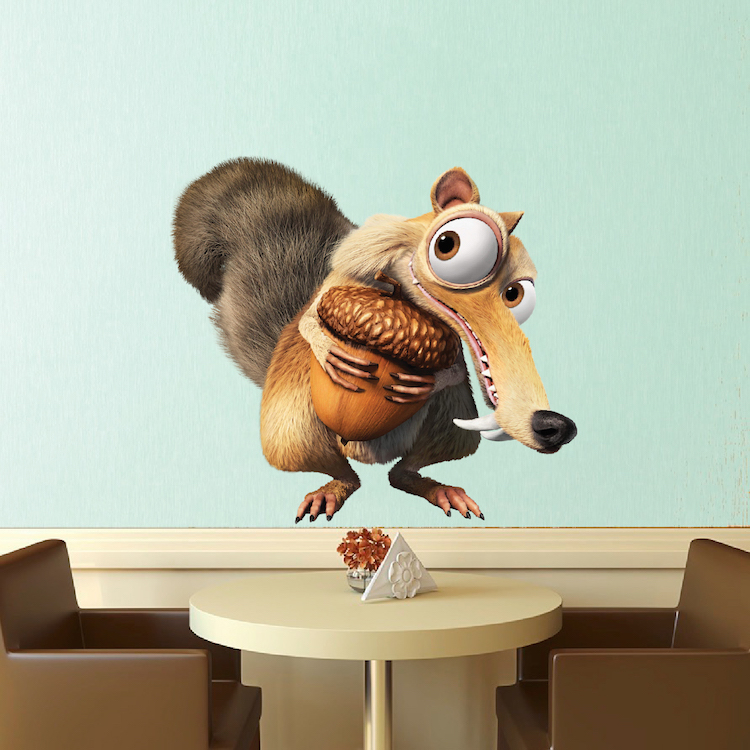 ice age squirrel wall decal - bedroom wall stickers - ice age decals