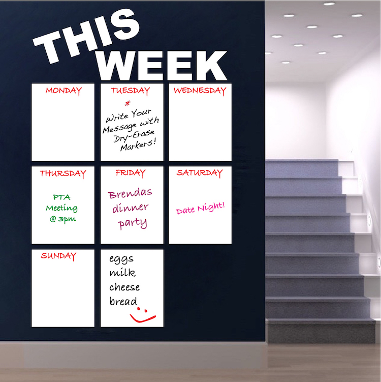 writable weekly calendar decal - dry erase wall decal murals