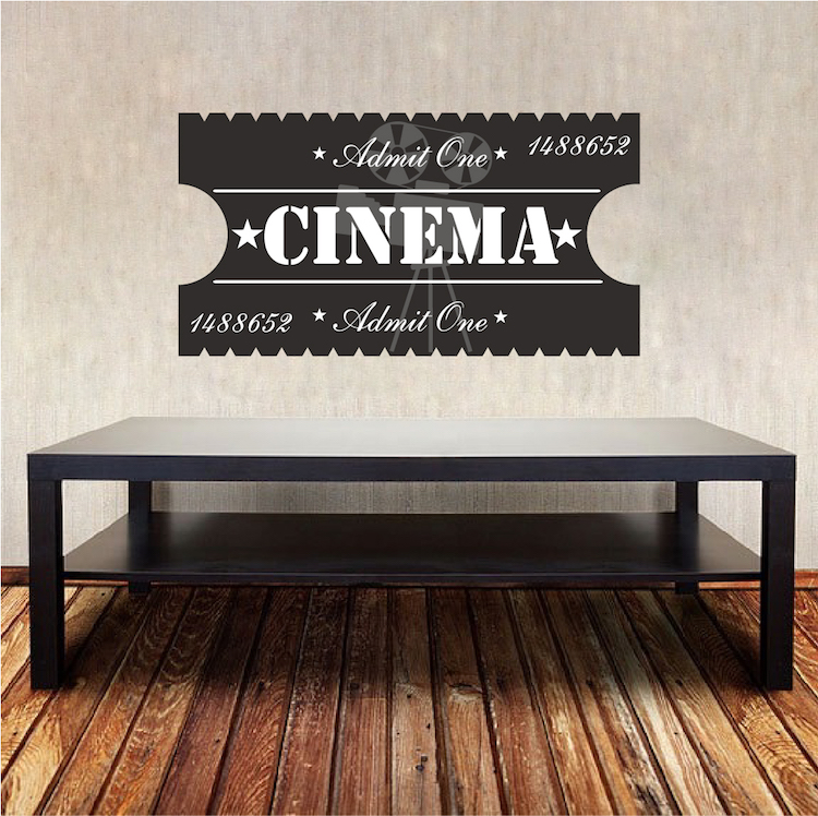 Custom Home Theater//Theatre Movie Tickets Admit One Wall Art Decal