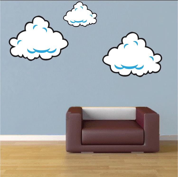 super mario bros clouds wall decal - bedroom stickers - mario bros for kids