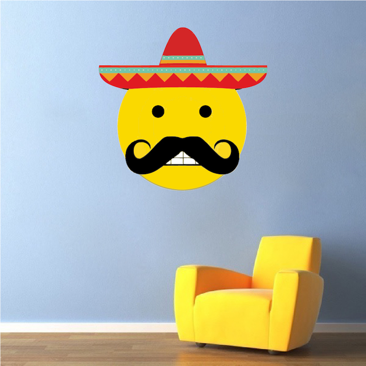 Mexican Emoji Wall Mural Decal - Mexican Wall Decal Murals - Primedecals