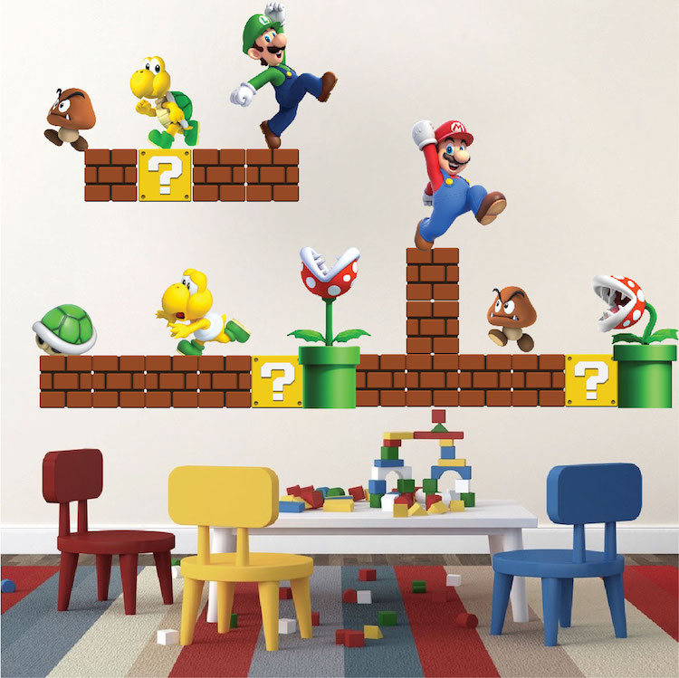 Super Mario Bros Wall Decal Video Game Wall Decal Murals