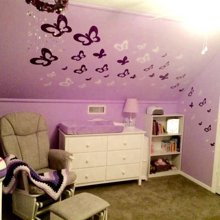 Bedroom Butterflies Wall Mural Decals