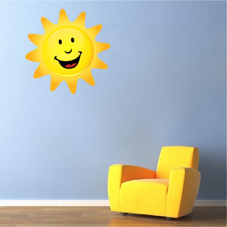 Happy Sun Mural Decal Nursery Wall Decal Murals Primedecals