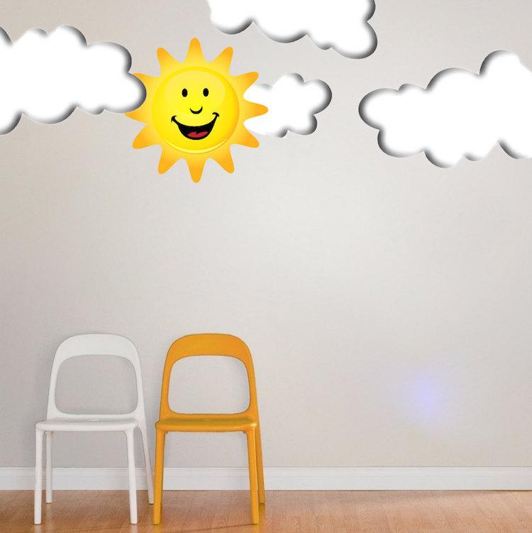 Happy Sun Mural Decal Nursery Wall Decal Murals