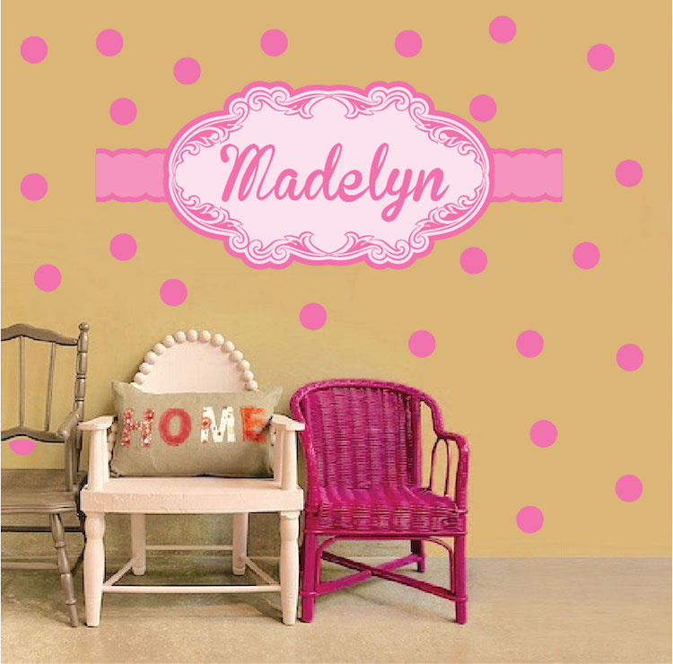 Girls Custom Name Wall Decal PInk Wall Stickers for Nursery