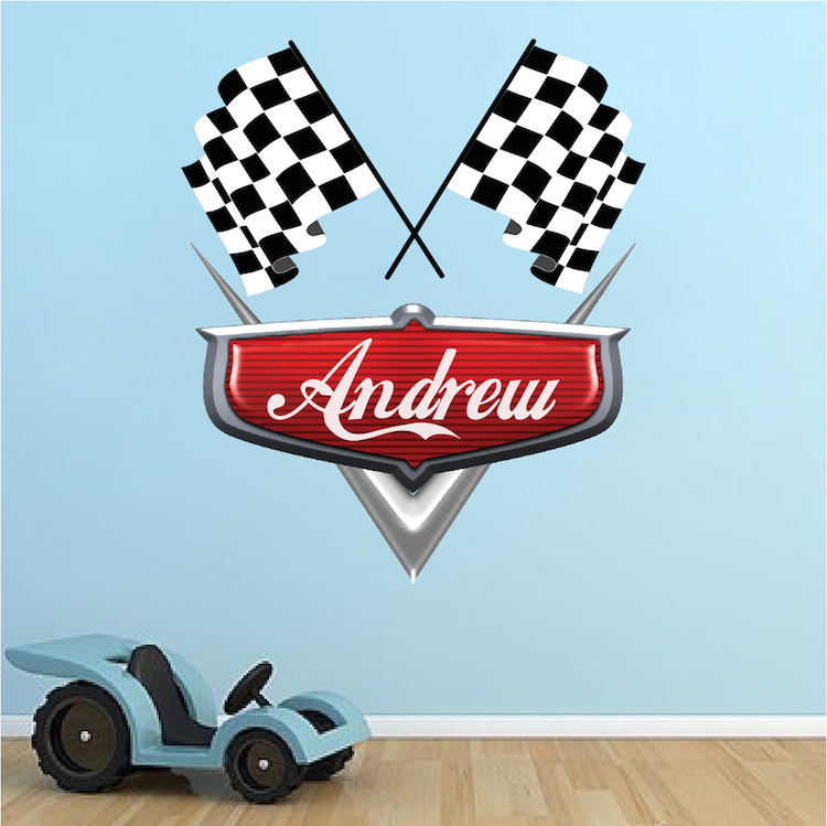 Personalized Boys Race Car Name Decal Car Wall Decals Automotive