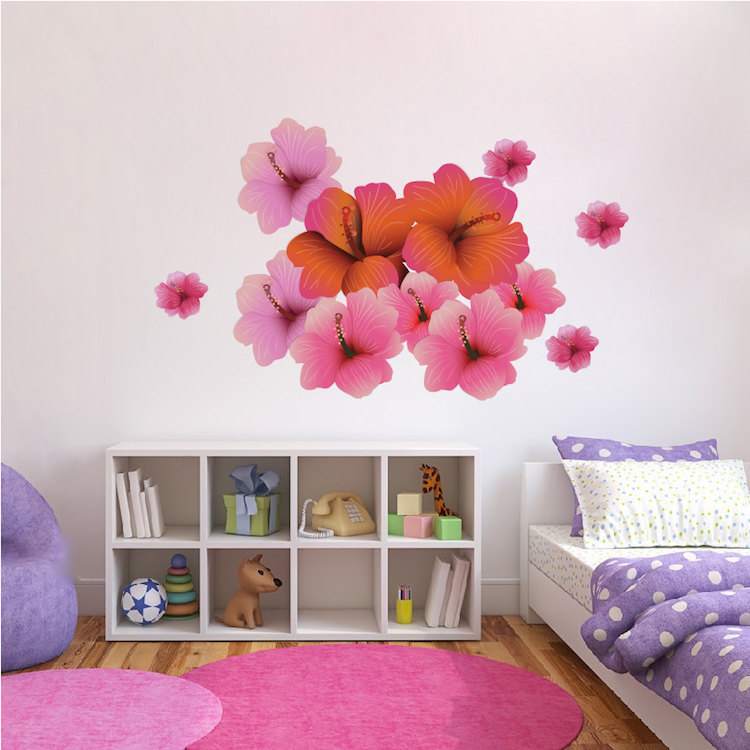 Hibiscus flower wall decal floral wall decal murals primedecals mightylinksfo