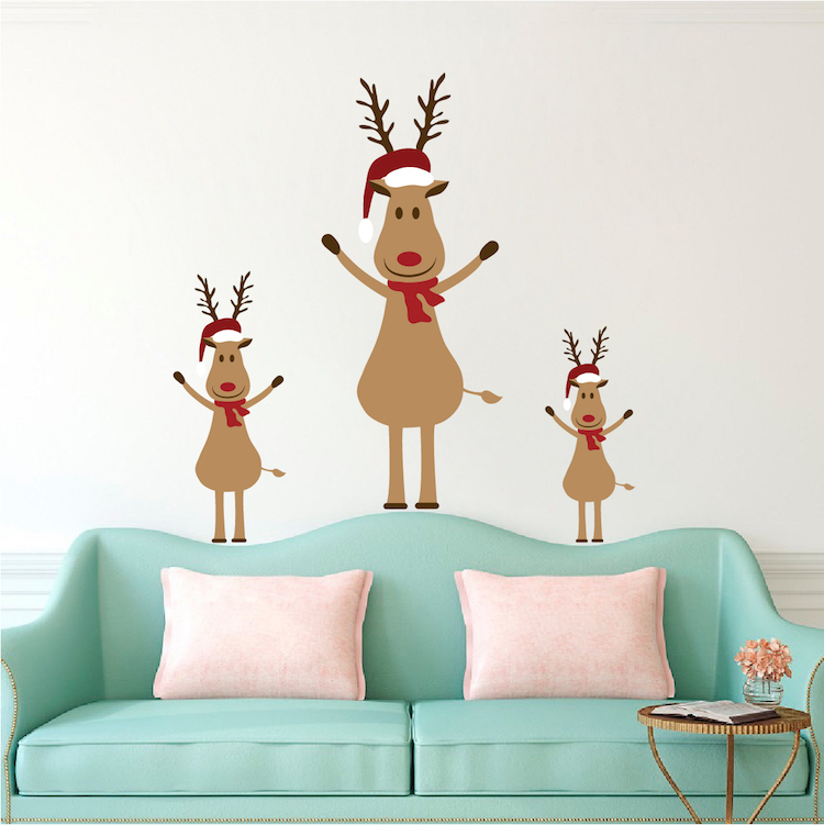 reindeer christmas wall decal - reindeer sticker for christmas