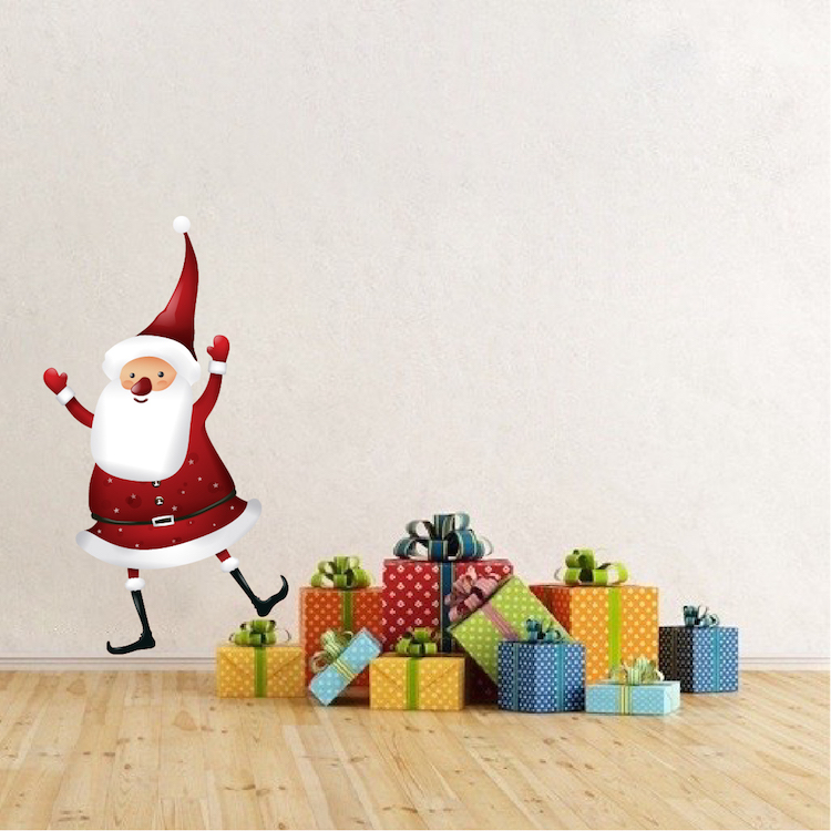 Christmas Wall Decals Removable.Santa Claus Dancing Removable Christmas Wall Decal Mural